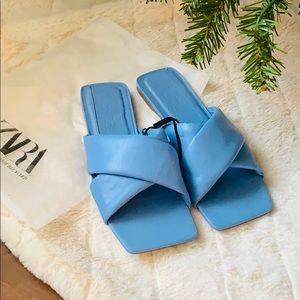 Zara flat leather sandals